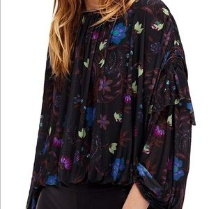 53d943ad3f7b76 Free People Tops - Free People Black Floral Mesh Long Sleeved Shirt